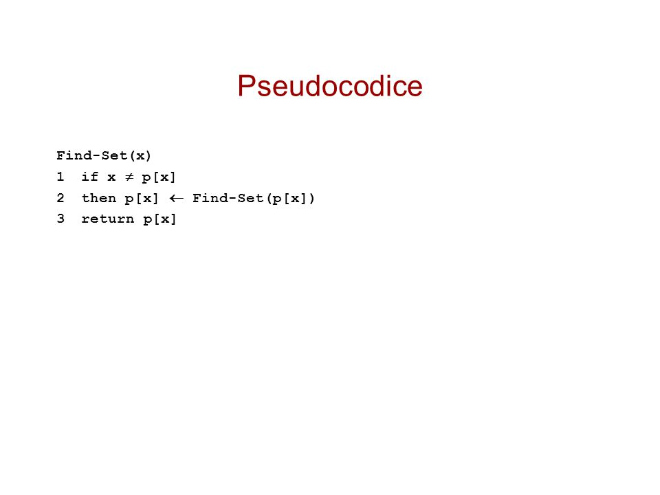 Pseudocodice Find-Set(x) 1 if x  p[x] 2 then p[x]  Find-Set(p[x])